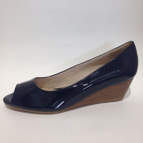 Elenora Navy Patent Wedge
